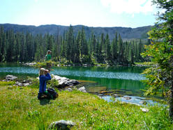 Andy and Tree looking for wildlife at Horseshoe Lake, Fraser CO 8.17.16