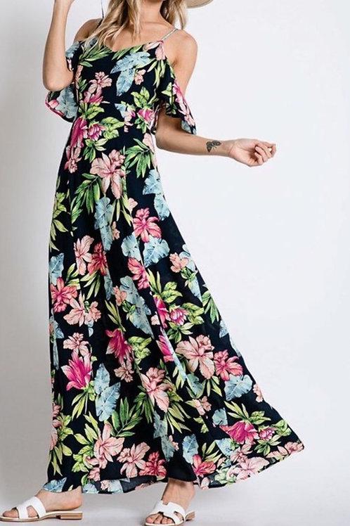 Tropical floral print maxi dress