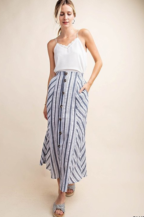 Stripe with linned button down skirt