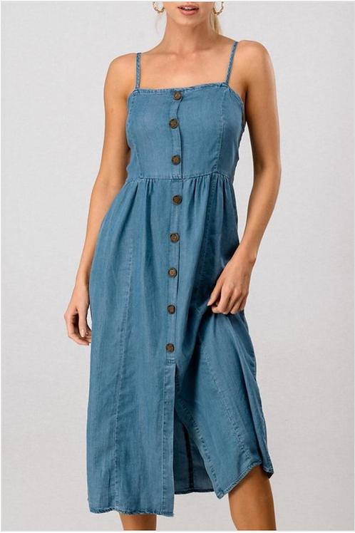 Button down spaghetti strap denim dress