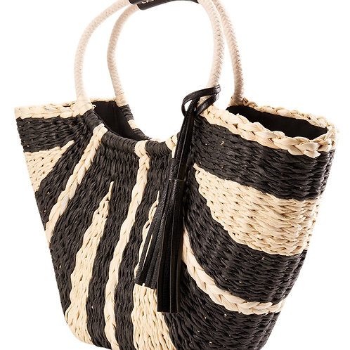 Sun N Sand Natural Straw Magnetic Snap Shoulder Tote Bag