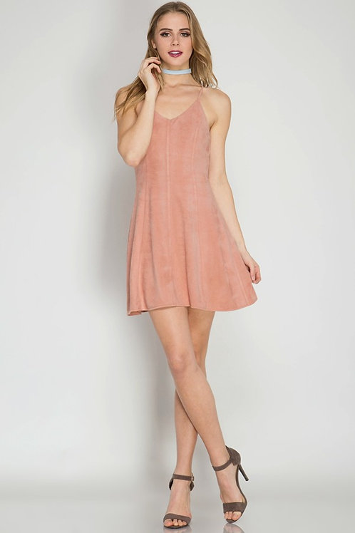 FAUX SUEDE PINK SHORT DRESS WITH CUTE BACK