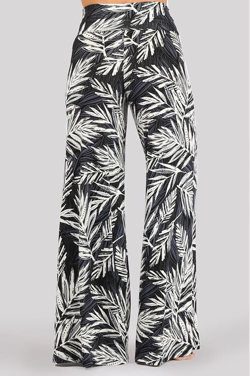 Tropical palm palazzo pants