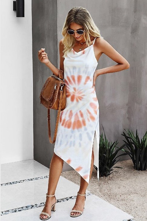 Spaghetti strap- Tie dye midi dress