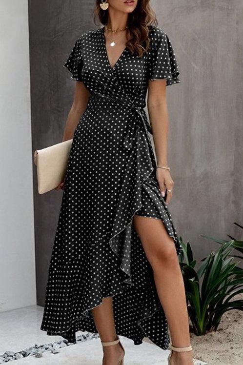 Polka dot dress - black