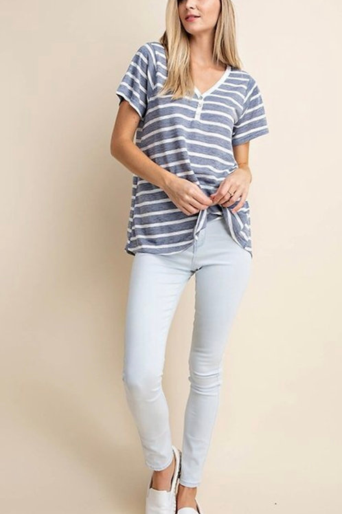 Button down stripe top