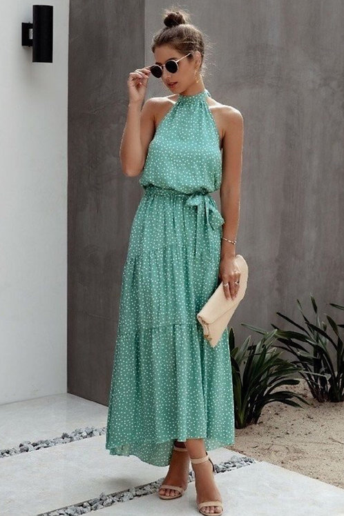 Halter long dress with dots