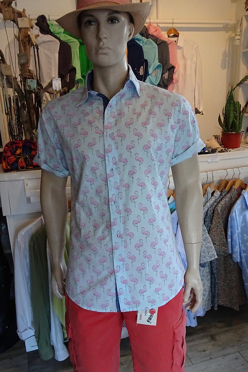 Cotton shirt with flamingos