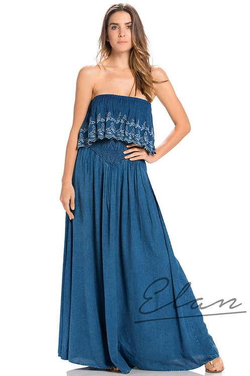 ELAN  Embroidered Strapless Maxi Dress w/Ruffle Tier Top