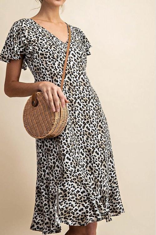 Leopard rayon crepe dress