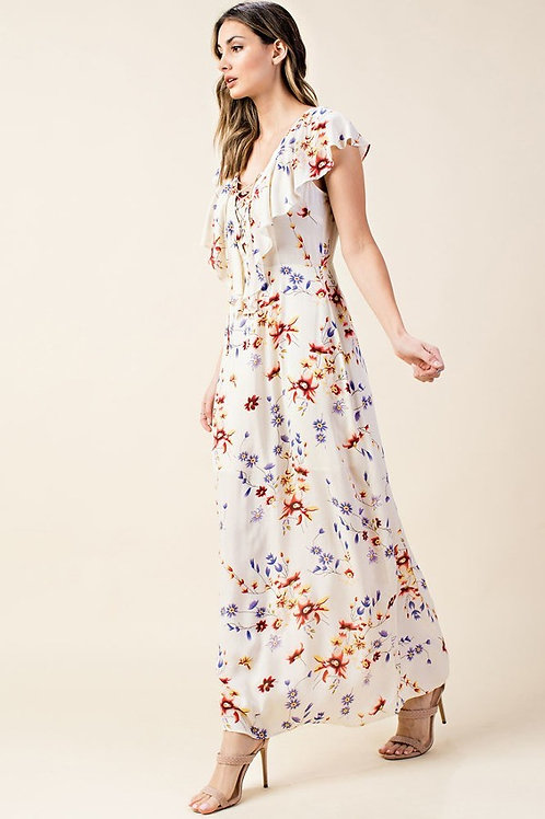 RUFFLED MAXI DRESS WITH FRONT TIE