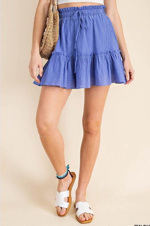 Elastic waist mini skirt