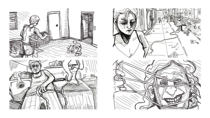 Storyboard pen drawings