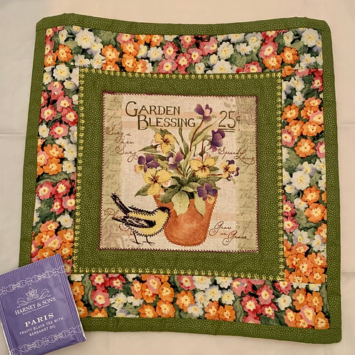 Renee Pasquale Tea Mat Garden Blessing with Pansies and Bird, teabag