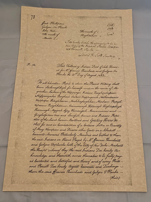 "Wappinger Indian Deed of 1683 Replica - 11"" x 16"""