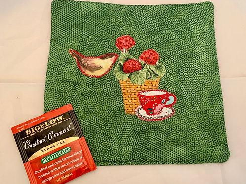 Renee Pasquale Tea Mat with Bird, Geranium, Teacup and Teabag