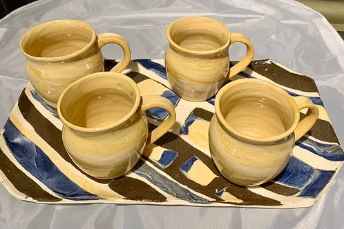Polly Myhrum Mug and Tray Set - 5 pieces