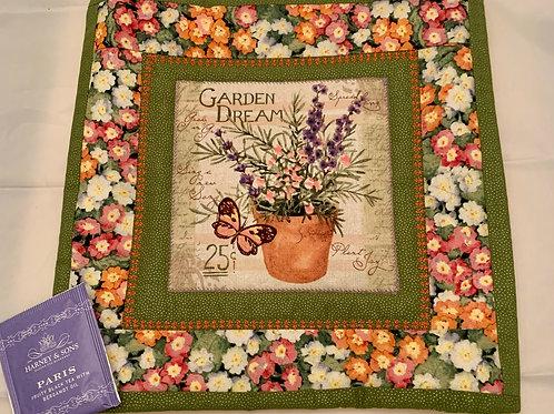 "Renee Pasquale Tea Mat Garden Dream with Herb pot and ""Paris"" teabag"
