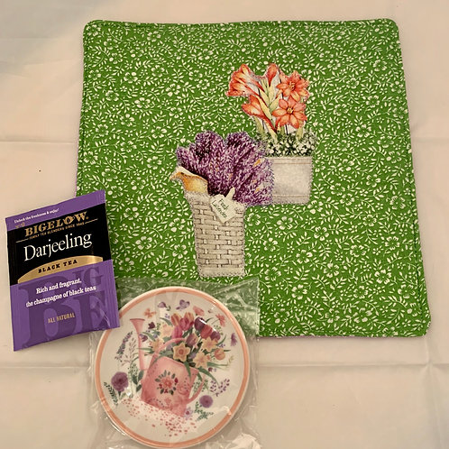 Renee Pasquale Tea Mat with Potted Flowers, Teabag plate and Teabag