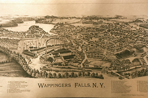 "Vintage ""Bird's Eye View"" Map of Wappingers Falls - unframed"