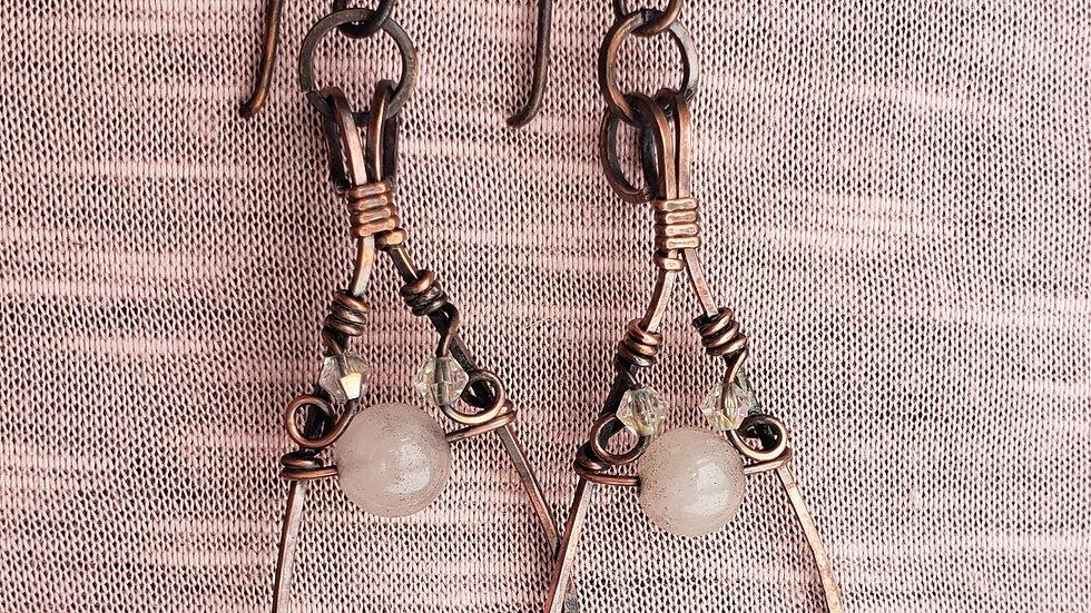 Rose Drop Earrings - rose quartz and swarovski bead