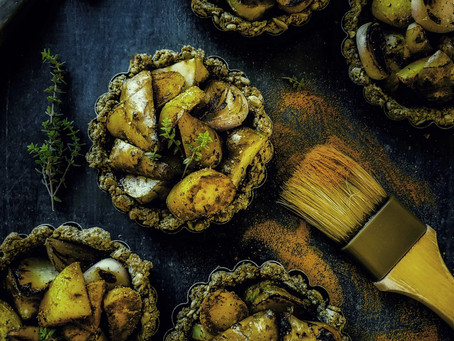 Roasted Sunchokes|Turmeric Potatoes|Hazelnut, Rye, Buckwheat, Sunflower Seed Tart