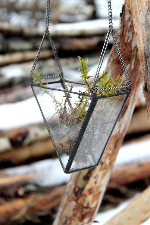 Флорариум геометрический Призма малая подвесная с цепью, ваза для флорарариума