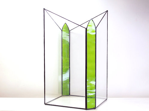 ваза для цветов, стеклянная ваза, витражная ваза, геометрический декор, оригинальная ваза,
