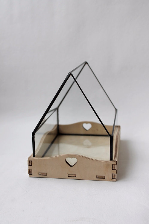 Флорариум Домик с деревянной подставкой, подсвечник