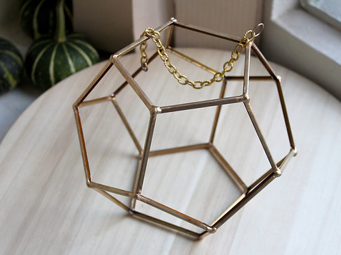 геометрические формы из профиля, геометрические вазы без стекол, золотой додекаэдр, декорирование интерьеров, подвесной