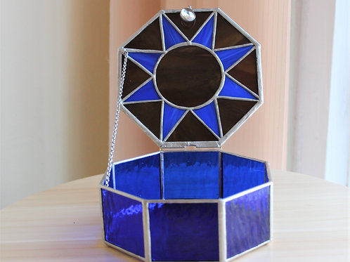 витражная шкатулка, шкатулка тиффани, витражи тиффани, шкатулка синяя, stain glass wingows, art glass