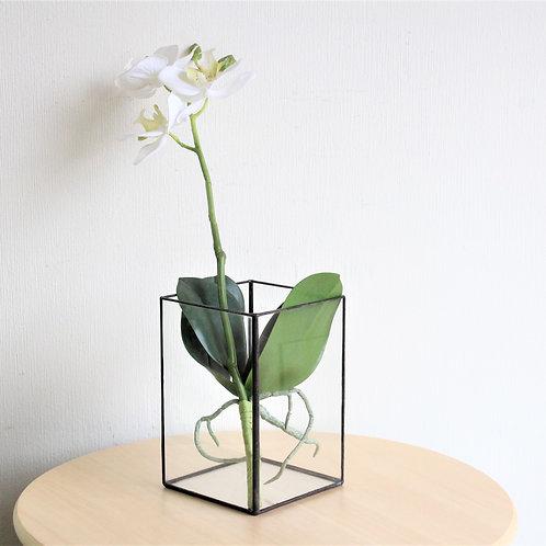 Витражный подсвечник, стеклянный геометрический подсвечник, ваза лофт, куб из стекла, подсвечник куб, геометрический декор
