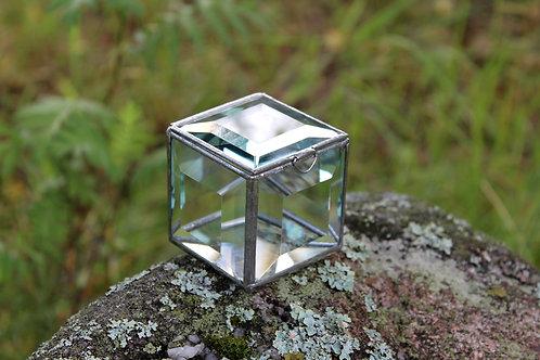 Шкатулка для колец, шкатулка с фацетным стеклом, свадебная шкатулка, h- 5,5 см