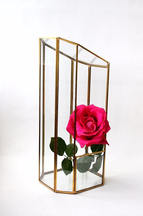 латунная ваза, высокая ваза, ваза для свадьбы, золотая ваза, витражная ваза