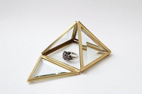свадебная шкатулка, шкатулка для колец, геометрическая шкатулка, шкатулка латунь