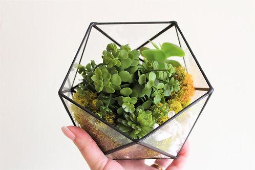 флорариум с искусственными цветами, флорариум с имитацией растений, флорариум с искусственными суккулентами