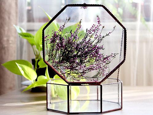 шкатулка гербарий вереск, гербарий, glass box, свадебная шкатулка купить, шкатулка тиффани стекло филигрань купить спб