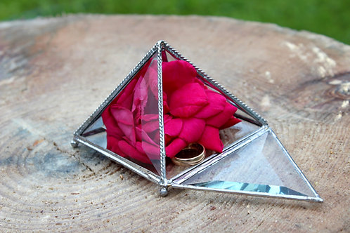 шкатулка для колец, шкатулка, свадебная шкатулка, шкатулка геометрическая, шкатулка пирамидка