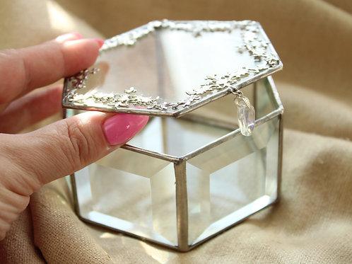Рита NEW. Шкатулка для колец, шкатулка с фацетным стеклом, филигранью
