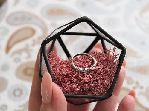 шкатулка для колец, маленькая шкатулочка из стекла, шкатулка черная, геометрическая шкатулка