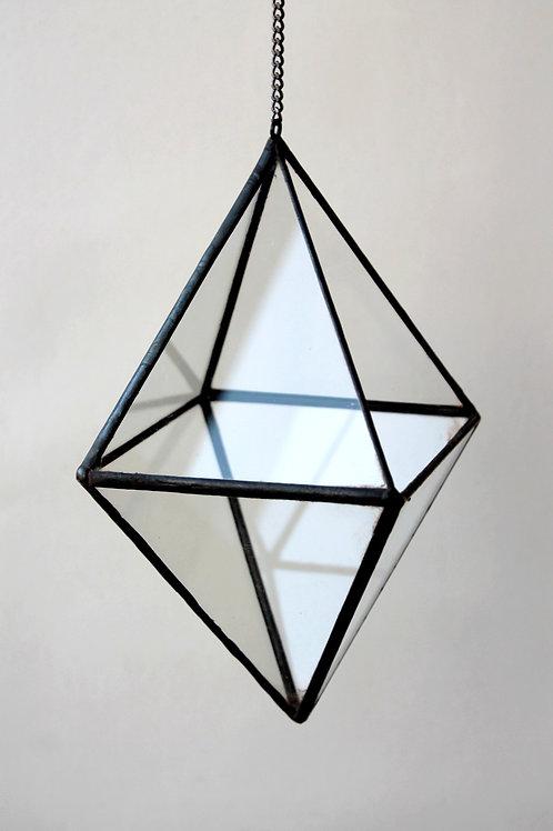 Флорариум геометрический Октаэдр малый подвесной с цепью, ваза для флорариума, 9