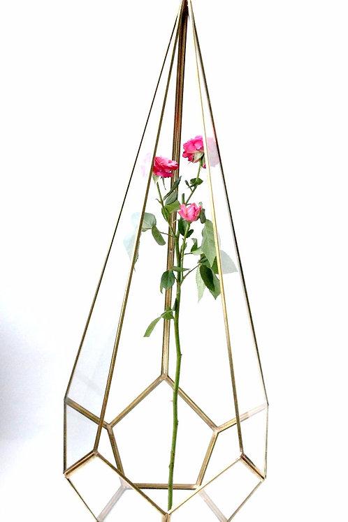 высокая ваза, высокий флорариум, орхидариум, золотой флорариум