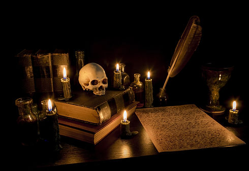 Wizard's Desk. A desk lit by candle ligh