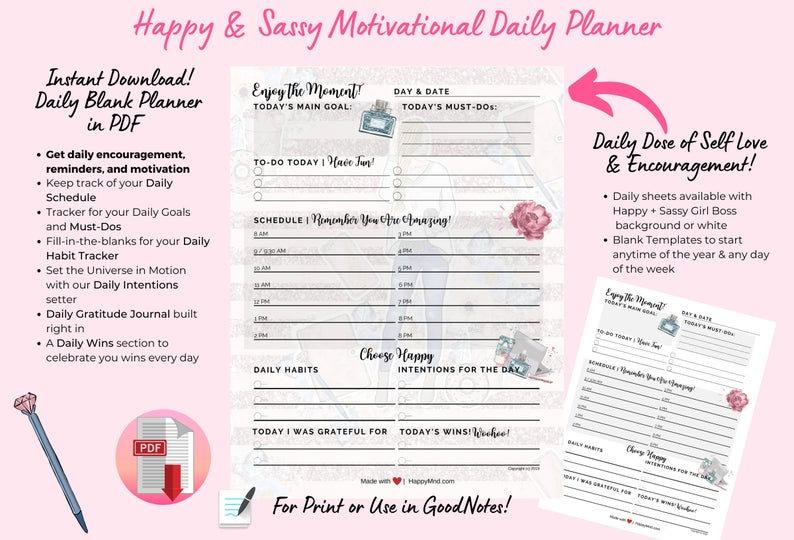 Happy & Sassy Motivational Planner (PDF)