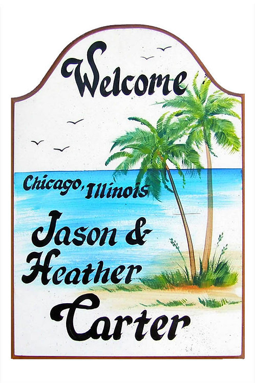 Custom hand painted palm trees sign for home or camper
