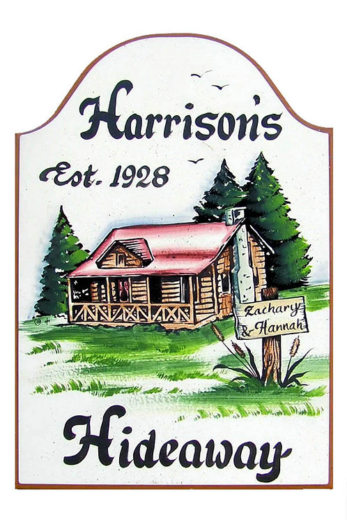 Custom hand painted cabin sign for home or retreat
