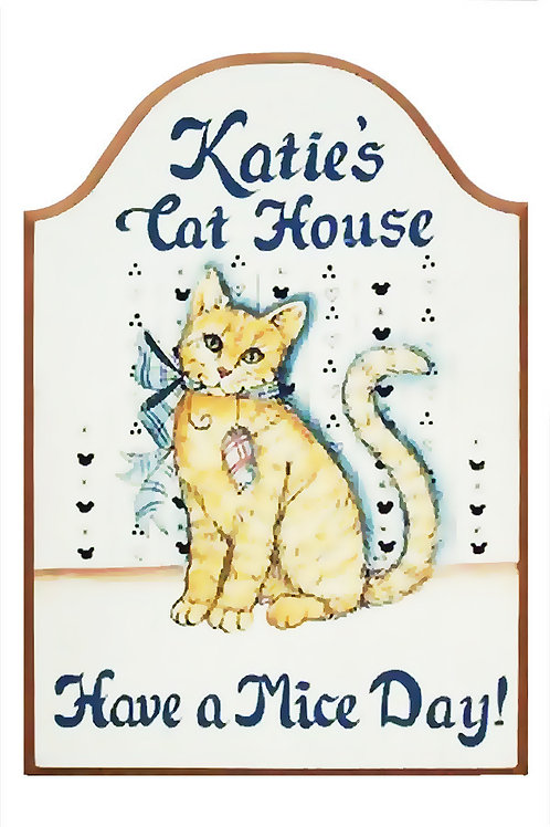 Custom hand painted cat and mouse sign for home office she-shed camper