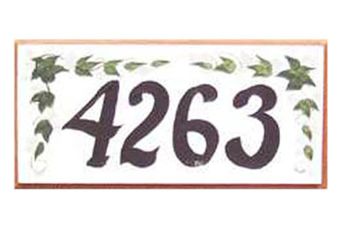 Custom hand painted sign with ivy and address numbers