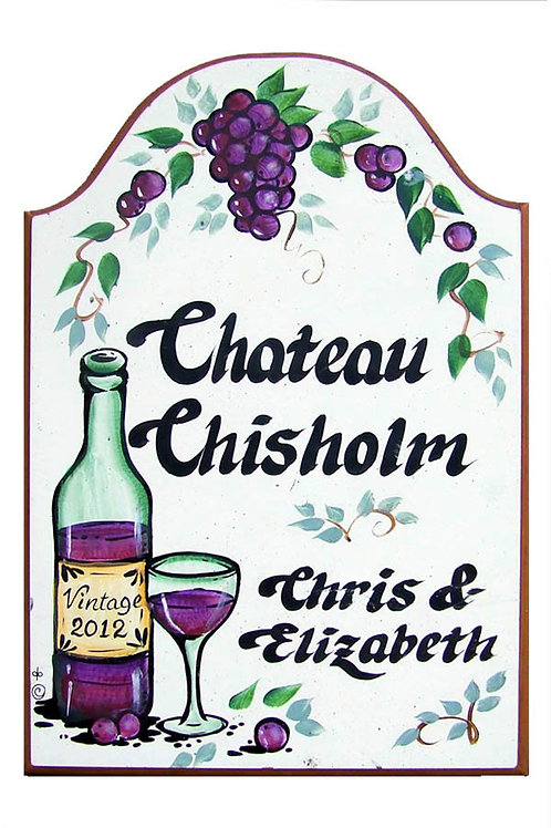 Custom hand painted wine and grapes sign for home camper rv