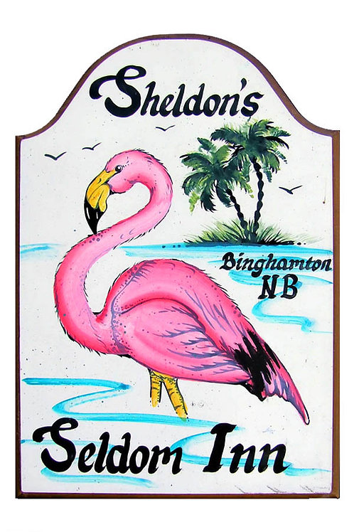 Custom hand painted flamingo sign for camper rv or home
